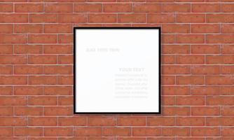 cadre photo vide ou cadre photo sur mur de briques rouges vecteur