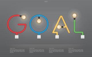 texte d'objectif coloré composé d'ampoules et d'interrupteurs vecteur