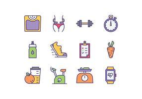 Icônes du programme de régime gratuit vecteur