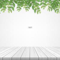 terrasse en bois avec encadrement de feuilles vertes vecteur