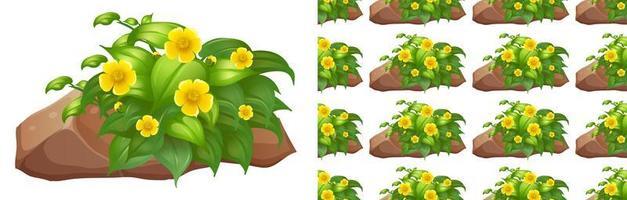 modèle sans couture avec fleurs jaunes sur rocher vecteur