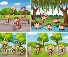 ensemble de singes dans différentes scènes en plein air