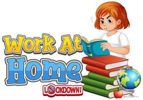 affiche de travail à domicile avec une fille lisant des livres