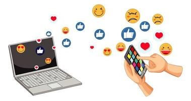 ensemble d'émoticônes de médias sociaux vecteur