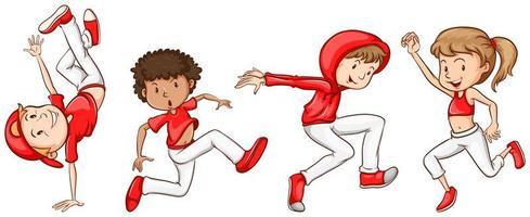 croquis de danseurs en rouge et blanc vecteur