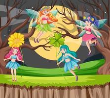 contes de fées tenant des fleurs dans la scène de nuit de la forêt vecteur