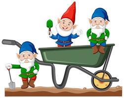 gnomes avec style de dessin animé de chariot de transport