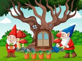 gnomes et style de dessin animé de maison dans les arbres