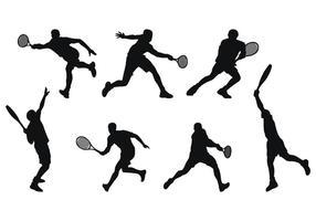 Silhouette de joueur de tennis vecteur