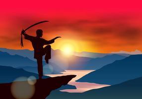 Wushu combattant avec l'épée vecteur