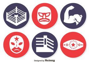 Vecteur d'icônes de cercle d'élément de lutte