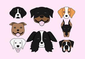 Icônes de tête de chien vecteur