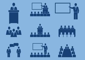 Icônes de la conférence des entreprises vecteur