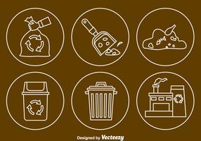 Vecteur d'icônes de lignes de déchets