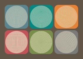 Icônes de grille de globe vectoriel