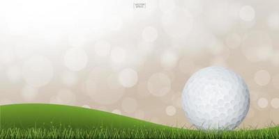 balle de golf sur la colline verte avec léger bokeh flou vecteur