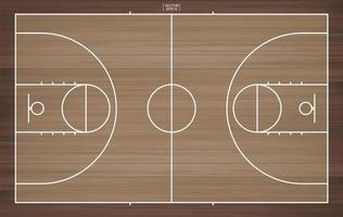 vue de dessus du terrain de basket vecteur