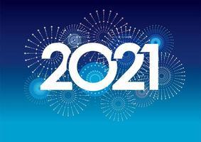 Modèle de carte de nouvel an 2021 avec feux d'artifice