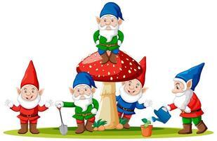 gnomes et champignons en style cartoon