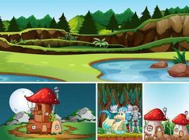 quatre scènes différentes du monde fantastique vecteur