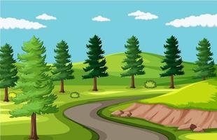 route de fond vide dans le paysage du parc