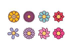 Ensemble d'icônes de fleurs gratuites vecteur