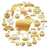 année du boeuf avec jeu d & # 39; icônes asiatiques vecteur