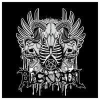 crâne de chèvre en métal noir avec des ailes d'ange