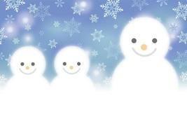 fond dhiver famille bonhomme de neige vecteur