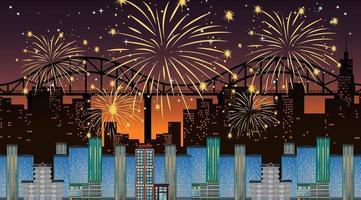 paysage urbain avec scène de célébration de feux d'artifice