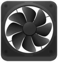 Moteur de ventilateur noir isolé sur fond blanc