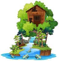 Ancienne maison dans les arbres en bois sur l'île isolée vecteur