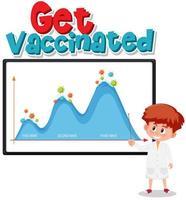se faire vacciner avec le graphique de la deuxième vague vecteur