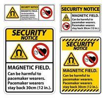 ensemble d'avis de sécurité de champ magnétique vecteur