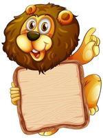 modèle de conseil avec lion sur blanc vecteur
