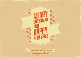Merry Christmas & Happy New Year Retro Card Vector