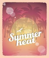Rétro affiche de chaleur d'été vecteur