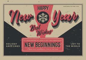 Vecteur de carte postale du Nouvel an vieilli