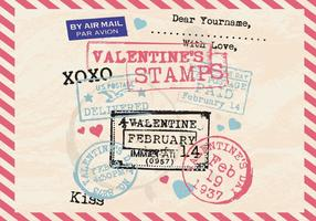Valentine's Stamps Old Postcard Vector
