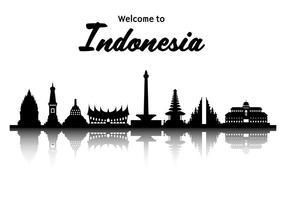 Free Indonésie célèbre cadre touristique vecteur