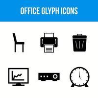 icônes de glyphe de bureau vecteur