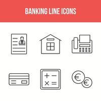 jeu d'icônes de ligne bancaire et financier