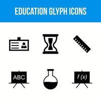 six jeu d'icônes de glyphe d'éducation et de scolarité