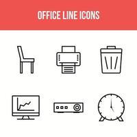 icônes de ligne de bureau vecteur