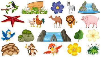 ensemble d & # 39; animaux et de scènes de plantes naturelles