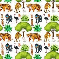 modèle sans couture de safari avec des animaux mignons vecteur