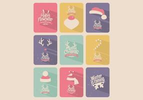 Vector de collection de cartes de Noël colorées aux bonbons