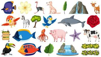 ensemble d & # 39; animaux et d & # 39; objets de la nature vecteur