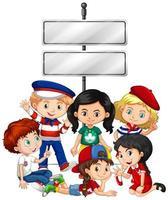 conception de modèle de bannière avec enfants et signe vecteur