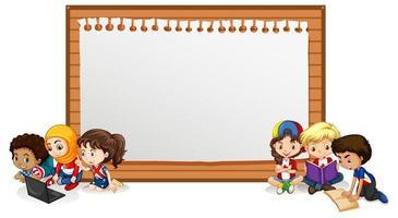 modèle de signe de bannière avec des enfants lisant des livres